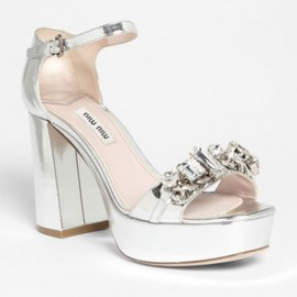 miu miu - 【'13Spring★先行予約】Miu Miu Metallic Leather Jeweled Platform Sandals 1