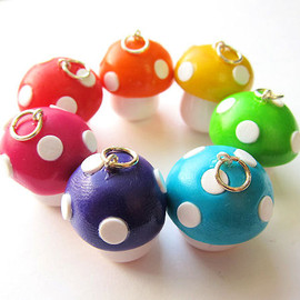 Luulla - Polymer Clay Mushroom Toadstool Charm You Pick the Color