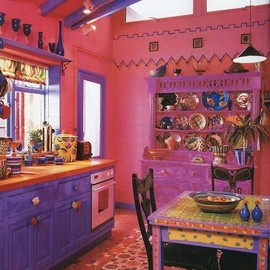 boho kitchen - kitchen in pink and purple