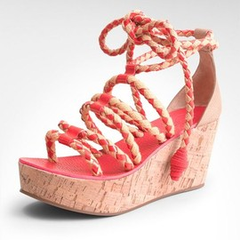 TORY BURCH - petra MID WEDGE  NATURAL FLUO PINK