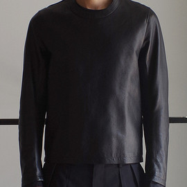 RAINMAKER KYOTO - CREW-NECK LEATHER SHIRTS / BLACK
