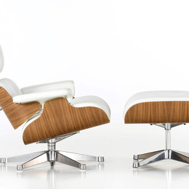 Vitra - Lounge Chair and Footstool White - Designed by Charles & Ray Eames