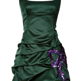MARC JACOBS - RESORT 2015 Emerald Silk Duchess Tank Dress With Sequined Bow