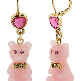BETSEY JOHNSON - HEART CANDY BEAR DROP EARRNG PINK