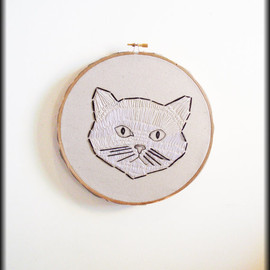 BROOKLYN CAT - Black & white embroidered cat-One of a kind