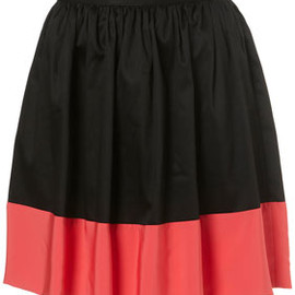 TOPSHOP - Black Colour Block Sateen Mini Skirt