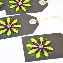 Luulla - Gift Tags - 6 Lime Green & Purple Glitter Paper Flowers with Vintage Sequins
