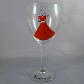 Luulla - Handpainted Bridesmaid Wine Glass Personalized Dress