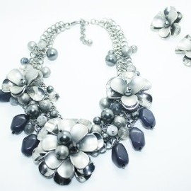 Fashion Europe resin beads flower Necklace and Earring Set, Jewelry Set