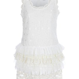 RED VALENTINO - White sleeveless cotton lace dress