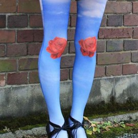 Eine Lilie - Rose in a sky Tights