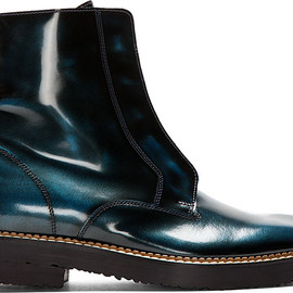 Maison Martin Margiela - Black & Teal Burnished Leather Ankle Boots