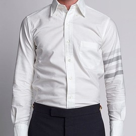 Thom Browne - White Woven 4-bar Armband Oxford Shirt