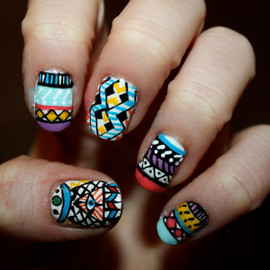 ZebberNails - Tribal/Aztec Illuminati Nail Art - Set of 24 False Nails