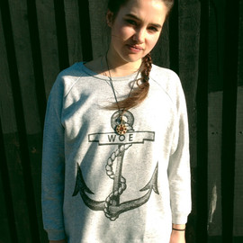 THE ORPHAN'S ARMS - WOE ANCHOR grey oversize sweatshirt