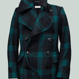 Dries Van Noten - Green and Black Buffalo Plaid Peacoat