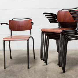 AMSTERDAM MODERN - GISPEN STACKING SCHOOL ARM CHAIRS WITH TUBULAR FRAME