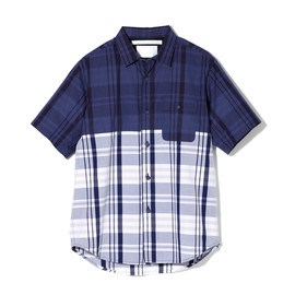 White Mountaineering - COTTON CHECK PIGMENT PRINT HALF SLEEVE SHIRT