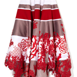 THOM BROWNE - Full Panelled Skirt With Laser Cut Roses