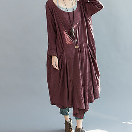 dress - Loose Fitting long dark red dress
