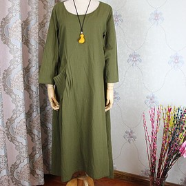 Linen tunic dress - Women Dress In olive green, Linen Kaftan, long dresses for women