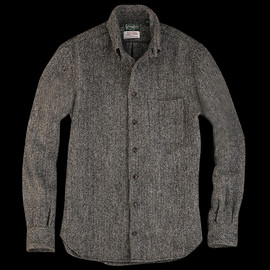 unionmade - UNIONMADE Harris Tweed Gitman Overshirt in Charcoal Herringbone