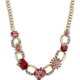 BETSEY JOHNSON - NYコレクションブランド【2012AW新作】☆Betsey Johnson☆Necklace, Gold Tone Fuchsia Crystal Chain Link Frontal Necklace 1