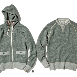 NEXUSVII × LOOPWHEELER® - LW HIGH NECK ZIP PARKA&LW DOUBLEGUSSET SWEAT
