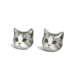 Faz Jewelry - ピアス/Cute Grey and White Cat Kitten