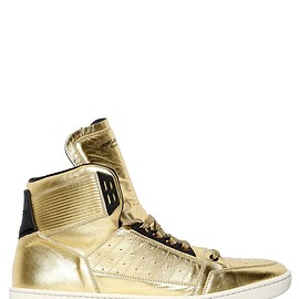 SAINT LAURENT - LAMÉ LEATHER HIGH TOP SNEAKERS