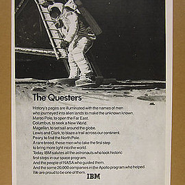 1969 IBM pierre mion astronaut apollo moon landing illustration art vintage Ad