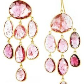 18-karat gold jellyfish drop earrings with pink tourmaline stones from Pippa Small