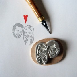 lilimandrill - Custom / couple portrait / handcarved rubber stamp