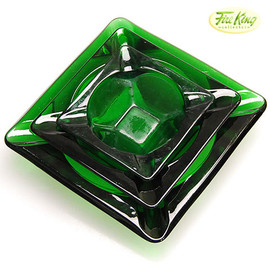 Fire King - Forest Green Ashtray Set