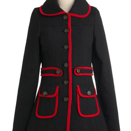 modcloth - Met Your March Coat by Knitted Dove - Long, Black, Red, Buttons, Pockets, Trim, Long Sleeve, Solid, Casual, 3, Fall, Winter, Mod
