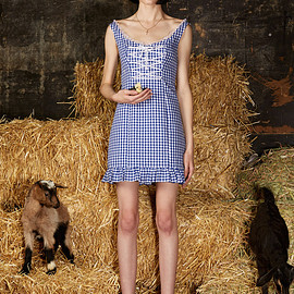 DAISY - LACE-UP GINGHAM DRESS