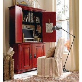 Pottery Barn - Campton Smart Technology Office Armoire in Desa Ming Red