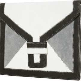 TOPSHOP - Topshop Oversized Leather Clutch in White (black)