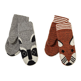 RECYCLED COTTON ANIMAL MITTENS- RACCOON AND FOX