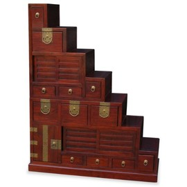 ChinaFurnitureOnline - Japanese-Style Step Tansu Chest - Mahogany