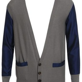 ADAM KIMMEL - Two-tone cotton and silk knit cardigan