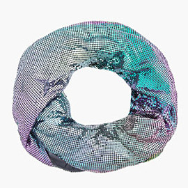 MAISON MARTIN MARGIELA - MULTICOLOR IRIDESCENT CHAINMAIL INFINITY SCARF