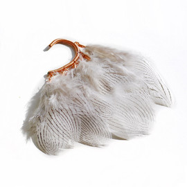 Anni Jyrgenson - Ear cuff with silver pheasant feathers