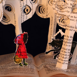 daysfalllikeleaves - Little Red - 8x10 photograph of a Book Sculpture