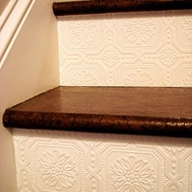 textured wallpaper stairs.