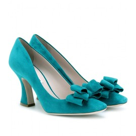 miu miu - SUEDE BOW PUMPS WITH FLARED HEELS