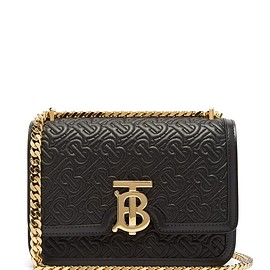 BURBERRY - TB small monogram-matelassé leather cross-body bag
