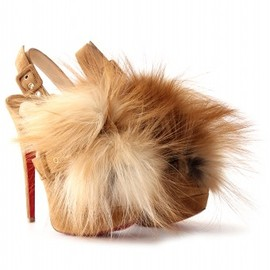 Christian Louboutin - SPLASH FUR 150 PLATFORM PEEP-TOE PUMPS