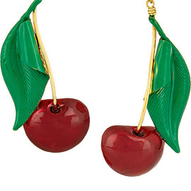 ERICKSON BEAMON - Cherry Pie gold-plated, Swarovski crystal and enamel earrings