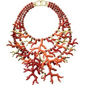 Kenneth Jay Lane - Coral and Gold Branch Necklace